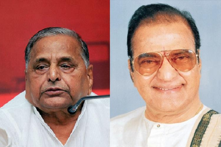 Like NTR Like Mulayam Indias bicycle parties and their uncannily similar family dangals
