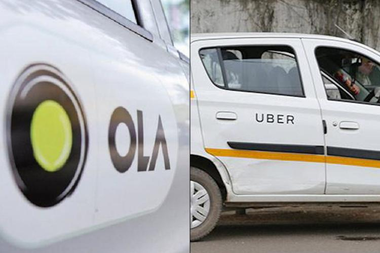 Collage of Ola and Uber cabs