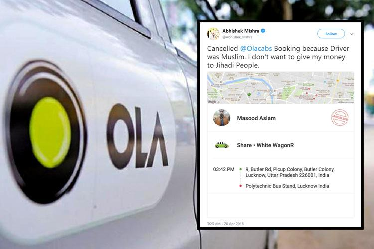 Ola stands up to bigotry responds to VHP man who cancelled cab as driver is Muslim