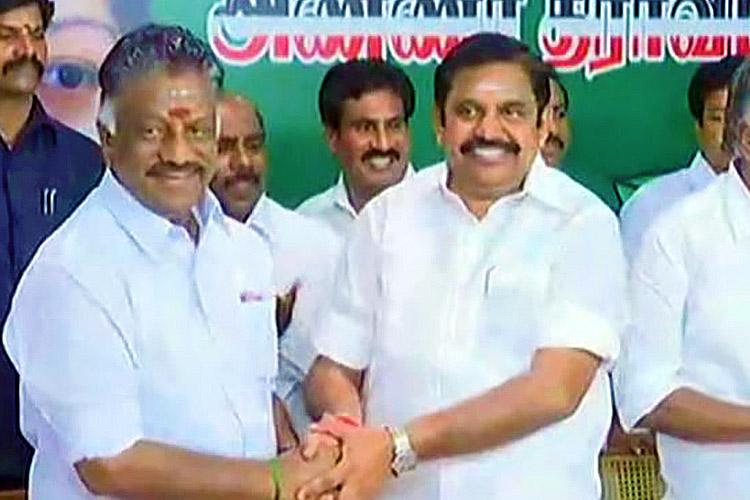 OPS shakes hands with EPS at last Warring AIADMK factions merge