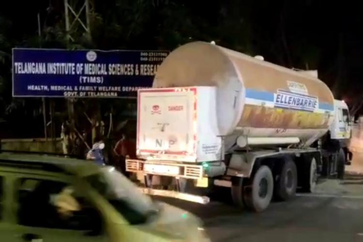 An oxygen tanker returning from Odisha entering TIMS in Hyderabad