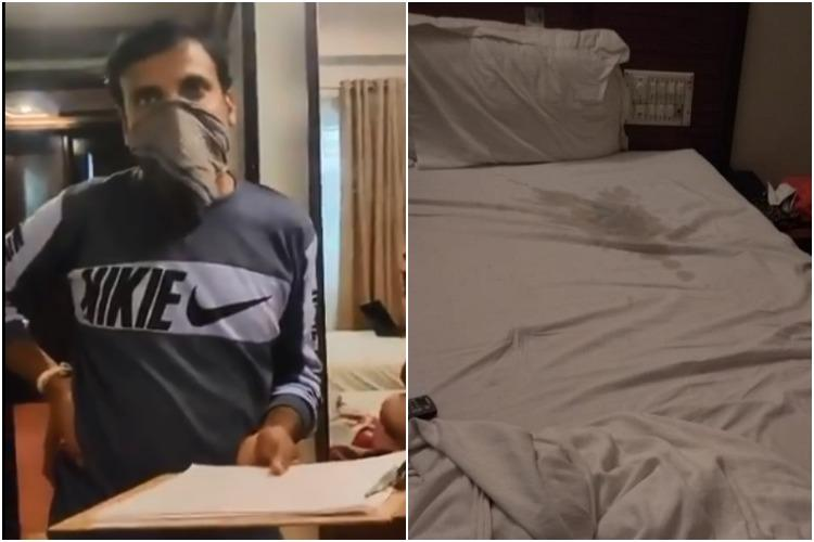 soiled bedsheet and manager of a paid quarantine facility in Karnataka