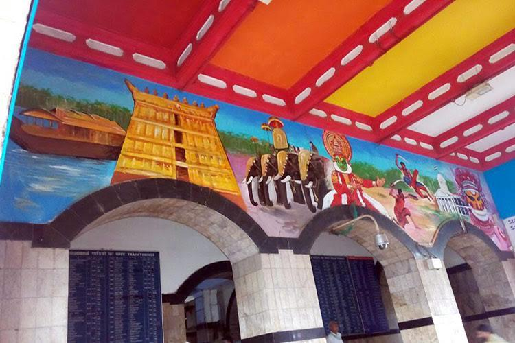 Culture on walls Colourful murals now adorn the walls of Tpuram railway station