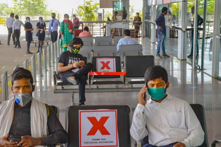 Passengers observing physical distancing at Ranchi aiport