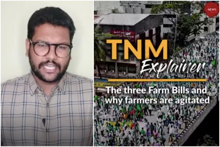 A collage of TNM reporter Paul Oommen and a picture of farmer protests over the three Farm Bills