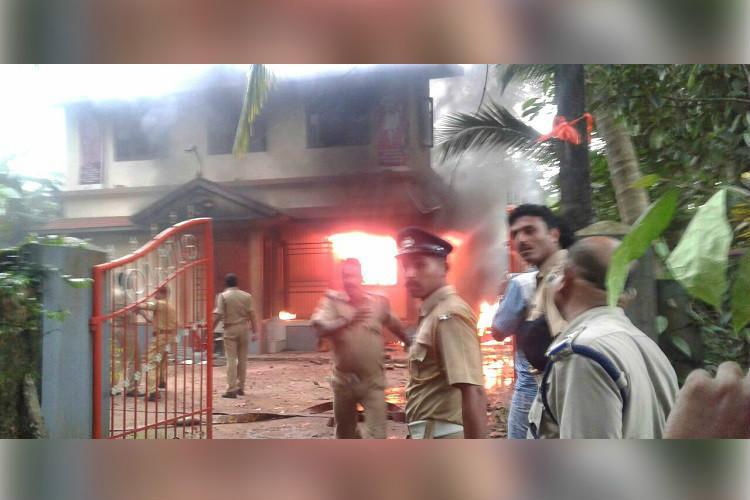RSS office in Kannur vandalised set ablaze