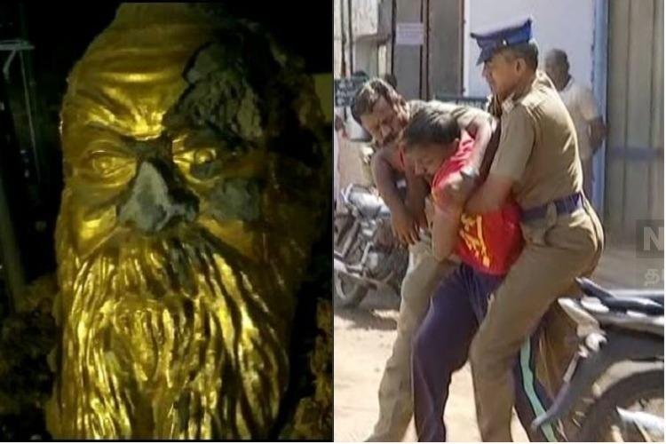 Periyar statue vandalised Cops students scuffle in Madurai TN erupts in protest