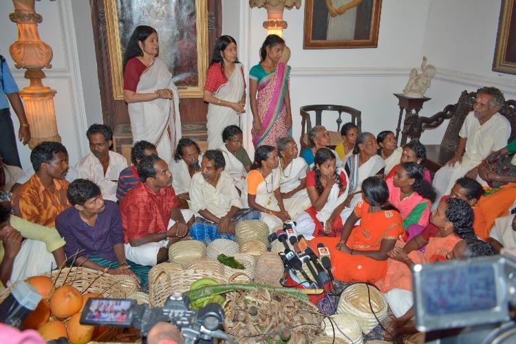 In line with Onam tradition people from Kani tribe offer gifts to Travancore royalty