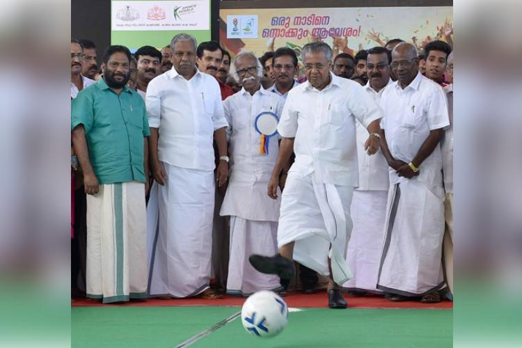 Kerala CM scores first goal as part of U-17 World Cup promotion event