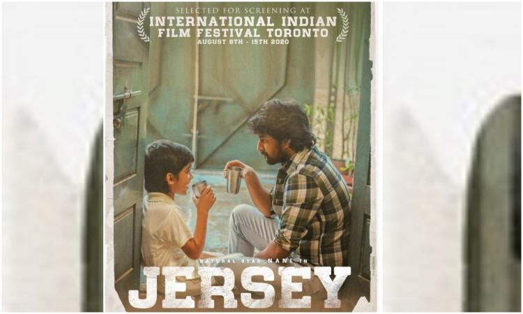 Jersey movie poster in which actor Nani was seen with a child artist sitting opposite to each other