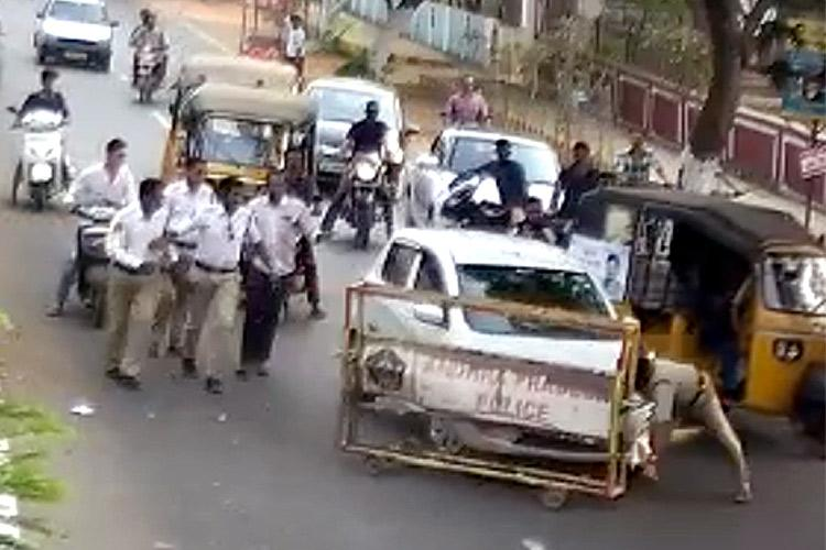 Drunk college student rams car into cops in Andhra head constable injured