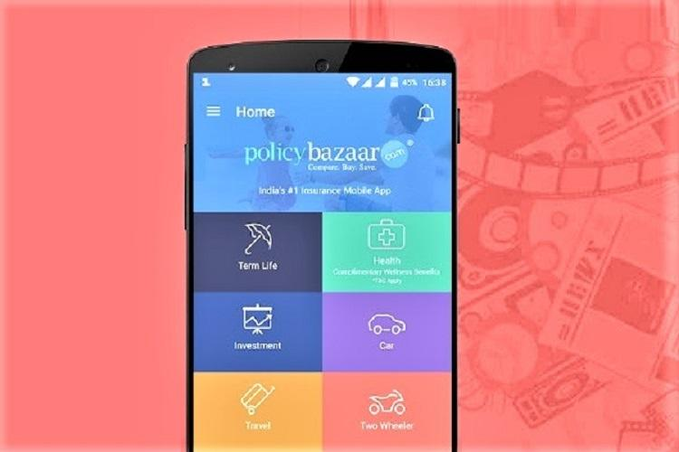 Policybazaar app open on a phone