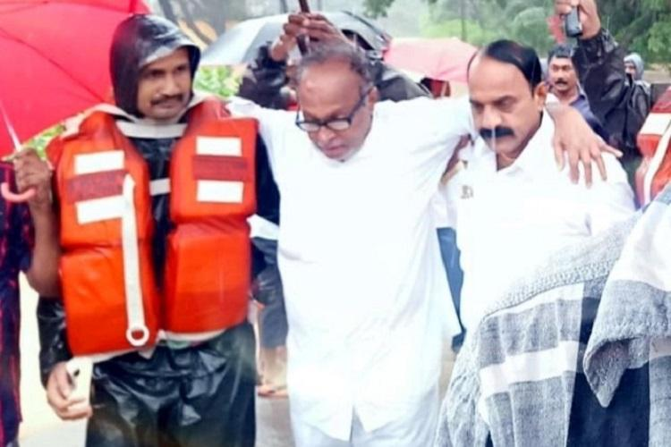 Former Union Min Janardhan Poojary rescued from floods in Dakshina Kannada
