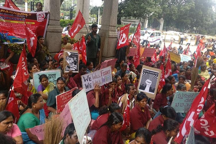 Bluru civic workers say no action taken over sexual harassment claims stage protest