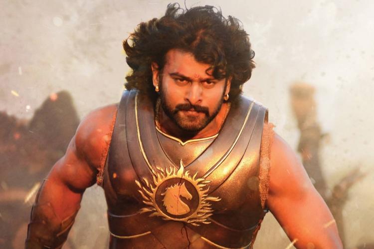 Prabhas wearing body armor in the film Baahubali.
