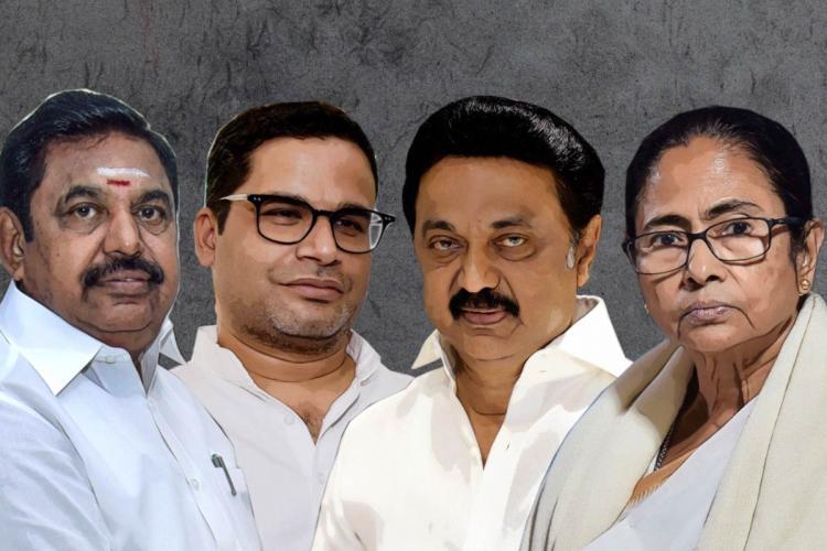 A collage of Edappadi Palaniswami Prashant Kishor MK Stalin and Mamata Banerjee