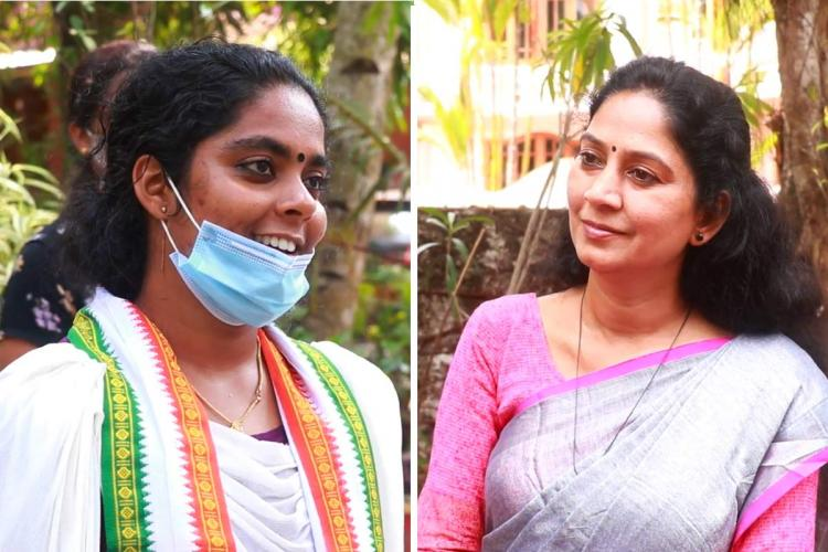 A collage of Kayamkulam Assembly poll candidates UDFs Aritha Babu in a white Congress shawl and LDFs Prathibha Hari in a lilac saree and pink blouse