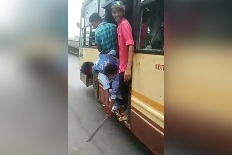 Chennai students hang off footboards brandish knives on bus Police say probe on