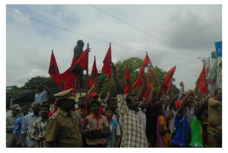 In pictures Protest in Chennai over artists arrest on sedition charges