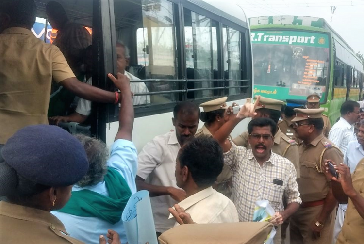 Anti-ONGC protest TN parties condemn police attack demand release of protesters