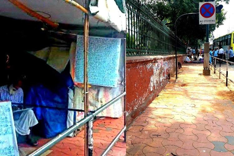 Ahead of Pongala Tpuram civic body razes protest sheds in front of Secretariat