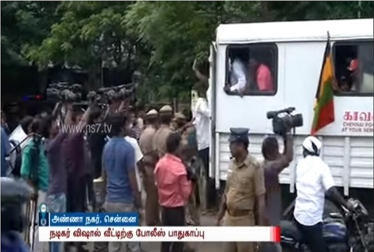 Protest outside actor Vishals house for Nadigar Sangams decision to stay away from politics