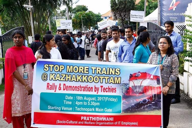 Train connectivity is our right Kerala techies rally for better access to workplace