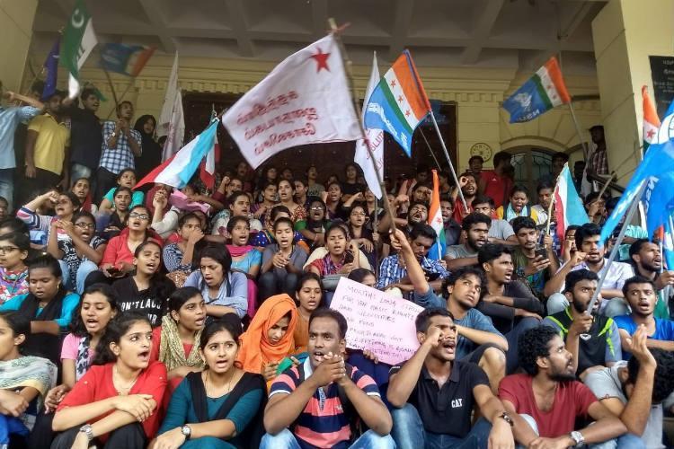 Pondicherry Uni students protest alleging Registrar and VC saffronising campus