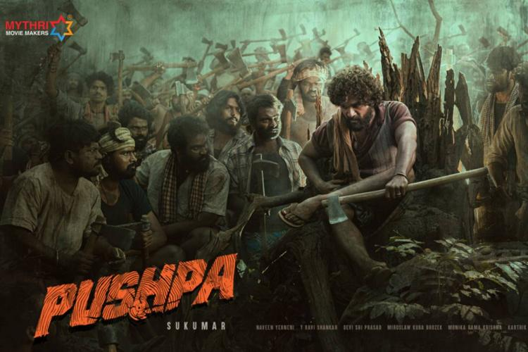 Puspha movie poster in which Allu Arjun and the rest of the cast are seen in intense look