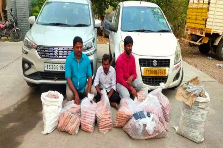 Three accused who were arrested for possessing and selling illegal explosives