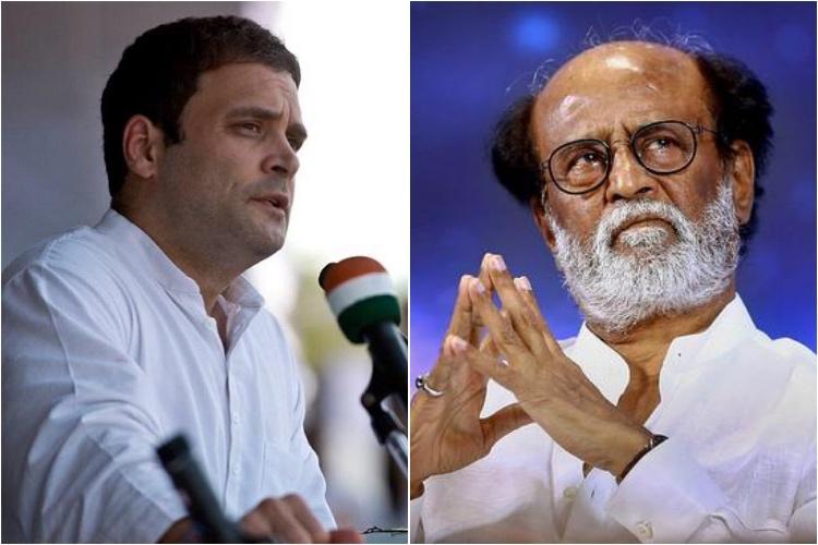 Rajinikanth Rahul Gandhi in favour of Karunanidhi being buried in Marina