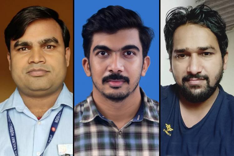 A collage of loco pilot Ranjeet Kumar, assistant loco pilot Hashid K and guard Shailender Kumar