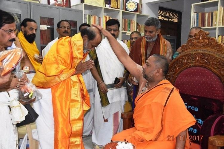 Rajinikanth visits Andhras Mantralayam temple