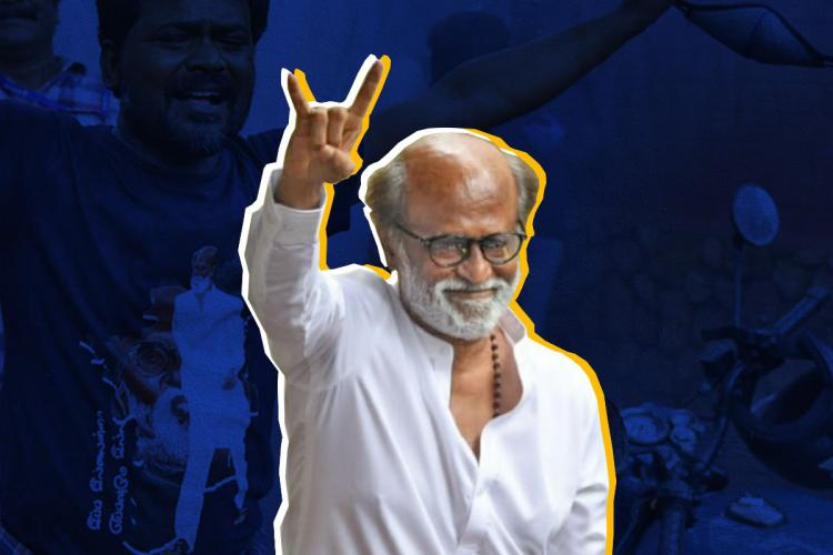 A stylised picture of Rajinikanth showing baba symbol imposed upon an image of his fans cheering