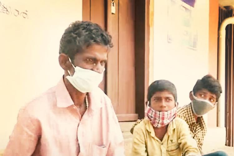 Raju and sons in masks who were thrown out of house alleging COVID-19