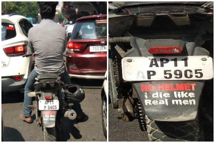 Real men dont wear helmets Hyderabad cops call motorists bluff