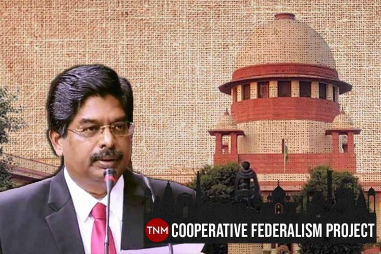 DMK MP P Wilson in front of the Supreme Court