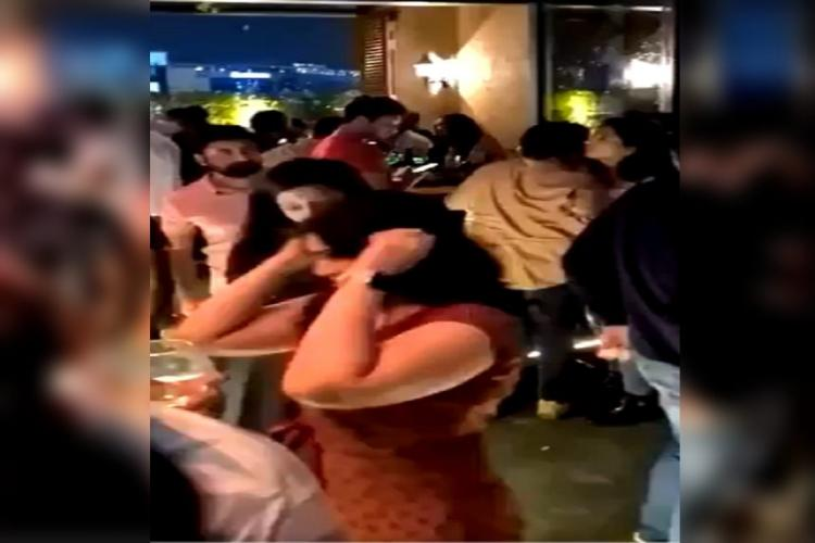 People at Resign sky bar crowding and flouting COVID19 norms in Hyderabad on a weekday evening