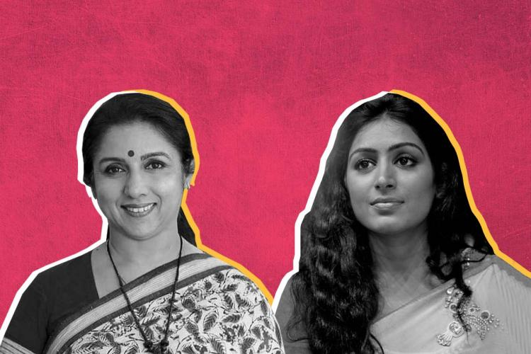 Black and white photos of actors Revathy and Padmapriya on pink background