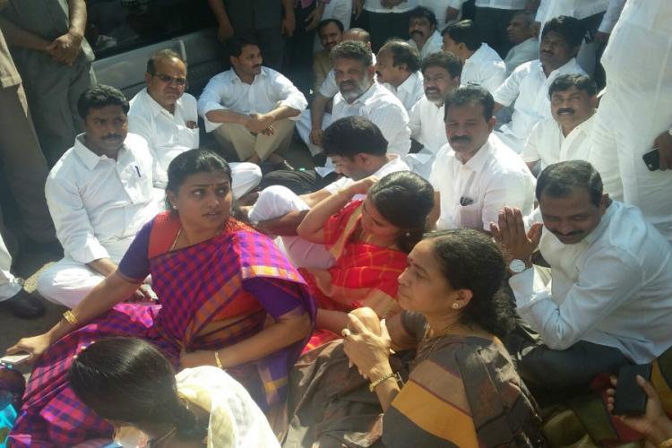 Roja denied entry into AP Assembly YSRC members create ruckus