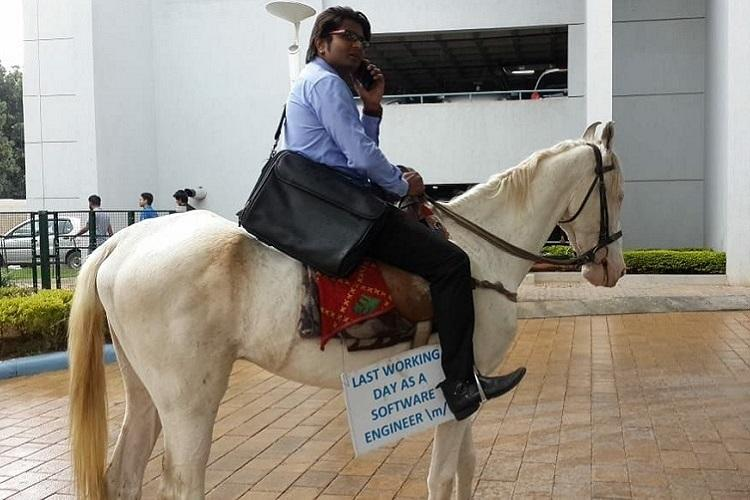 Frustrated with Bengaluru traffic techie ditches bike for a horse on last day of work