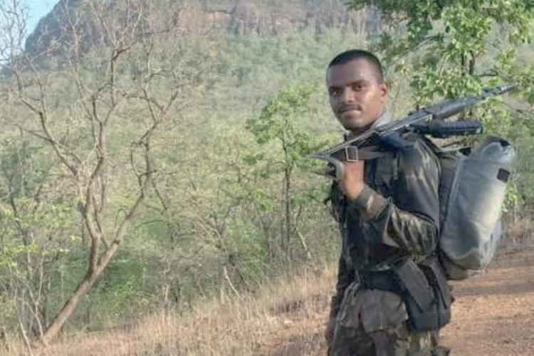 RSI Aditya Sai Kumar on duty with his service weapon