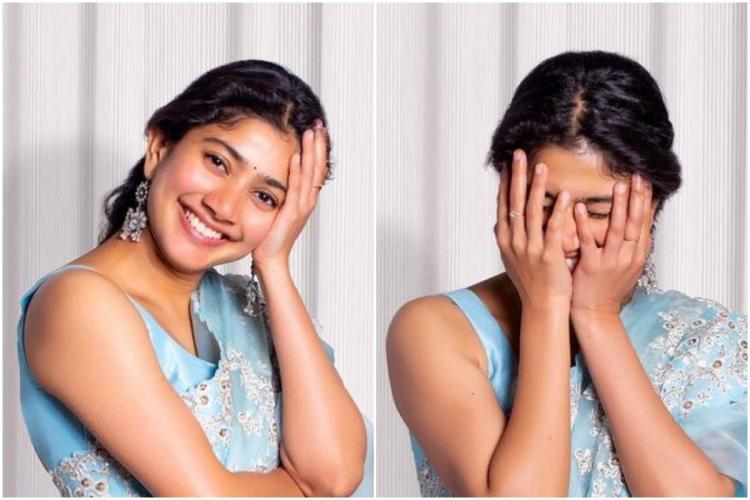 Collage of two photos of Sai Pallavi in a blue saree