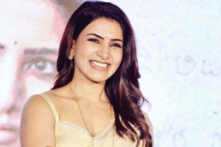 Samantha Akkineni in a saree smiling widely