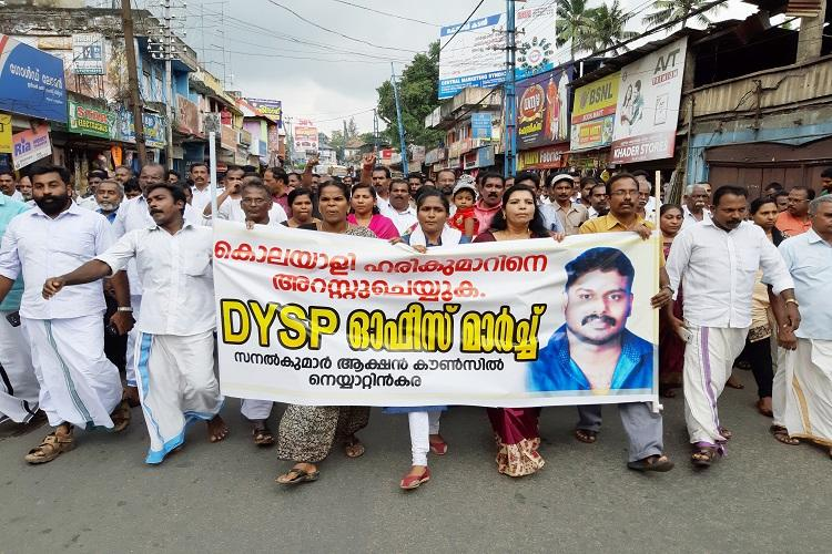 Protests demand arrest of Kerala DySP Harikumar who pushed Sanal Kumar to death