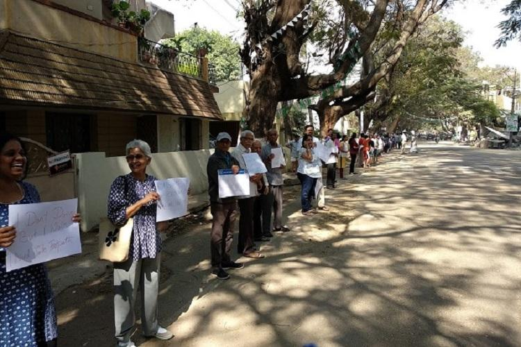 Bengalurus Sanjay Nagar residents form human chain to fight for their right to walk