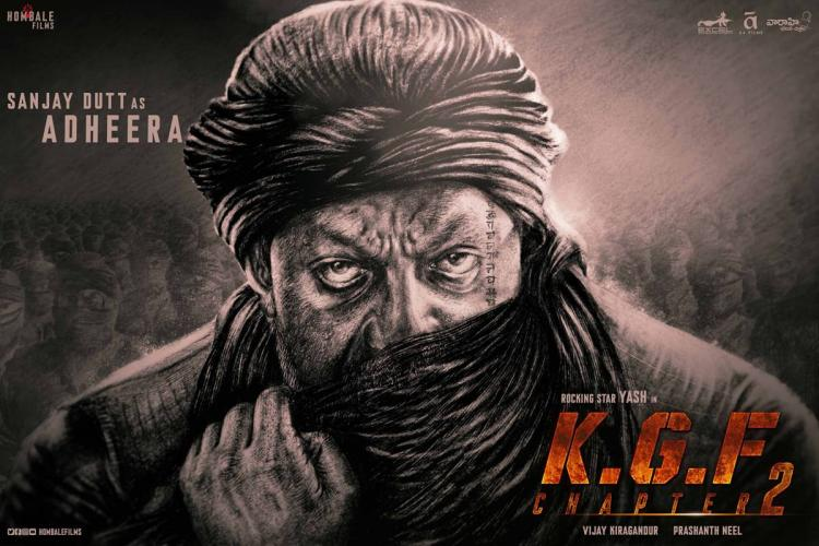 Sanjay Dutt wearing a turban and his face partially covered as Adheera on poster of KGF Chapter 2