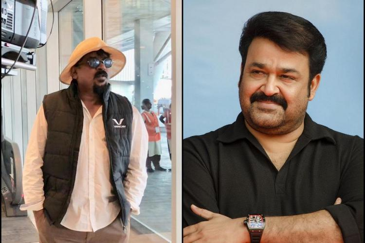 Santosh Sivan in a white shirt and hat and a black overcoat with his hands in his pocket is on the left while Mohanlal in a black shirt is smiling