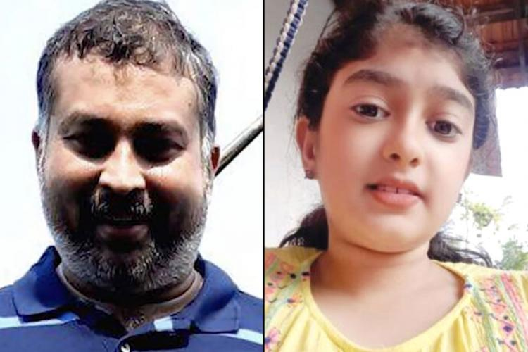A collage of Sanu Mohan in a blue shirt with a beard and his daughter Vaiga wearing yellow top both are looking into the camera