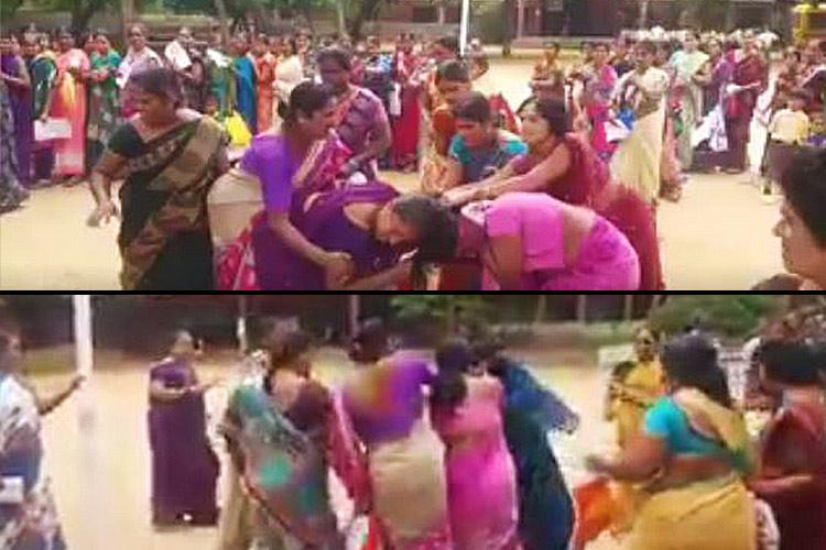 Ugly fight breaks out over free sarees in Telangana Women tear each others hair out in queue